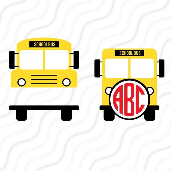 school bus svg back to school svgschool bus monogram svg cut rh etsy com