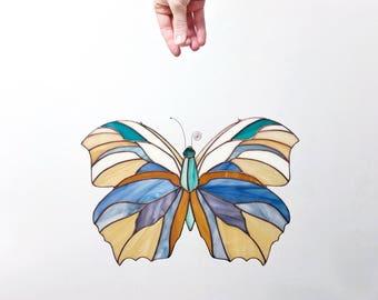 butterfly suncatcher || original design || stained glass panel || housewarming gift || birthday gift || renter friendly