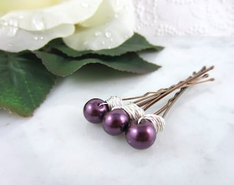 Pearl Hair Pins - Silver Pearl Hair Pins - Purple Hair Pins - Purple Pearl Hair Pins - Wedding Accessories - Bridal Hair Pins - Bridesmaids