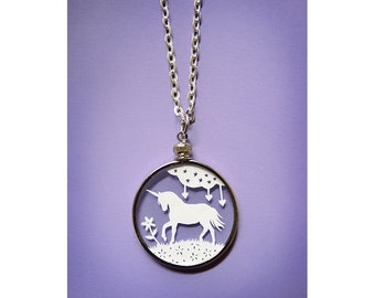 Papercut Unicorn Necklace- Original Handcut Paper in Glass Pendants with Silver Chain