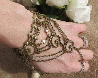 Chain ring bracelet, Hand chain, Heart Slave Bracelet, Ring bracelet, Heart Body Jewelry, slave bracelet bdsm, bdsm jewelry, chain ring