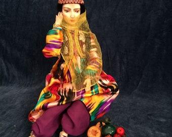 SOLD OOAK Polymer Clay Art Doll Uzbek Folk Bahor Boudoir Doll