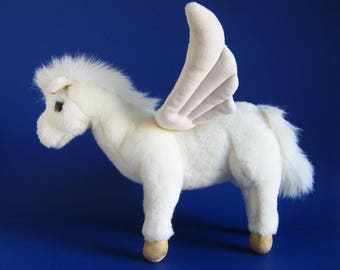 Vintage Pegasus Winged Horse Stuffed Animal by GUND Kids Toy 1990s Toy 1992 Greek Mythology White Horse Wings Stallion mythical creature
