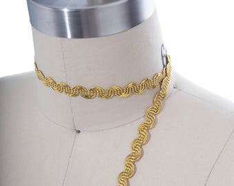 2 Yards Gold Gimp Trim/ Gold Metallic Gimp Trim/ Furniture Trim/ Gold Grekko Styled Gimp Trim