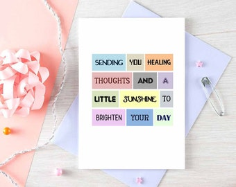 Get Well Soon Card | Sympathy Card | Illness | Thinking Of You | Healing Thoughts | Uplifting | Blank | SE0075A6