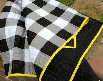 Black & White, Gray, Yellow Modern Lap/Throw Quilt