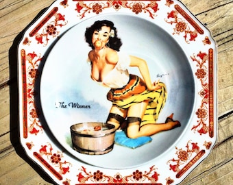 The Winner • Elvgren • Pinup • Vintage Retro Repurposed China Pinup Wall Art Plate • Kitsch • Pinup Art • Sexy