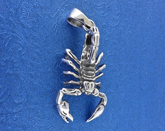 Sterling Silver Scorpion - Scorpio Zodiac Pendant Scorpion Sign Free Shipping, Free Shipping Worldwide!
