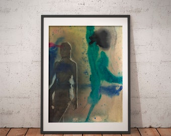 Fashion Girl · Art Print · Art Giclée Print · Wall Art · Watercolor Art · Graphite Art · Abstract Art · Figurative Art ·
