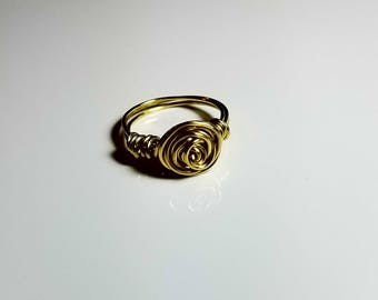 Wire wrapped ring, Rosette Ring, twisted wire ring, wire ring