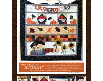 Fall Quilt Pattern, Row Quilt Pattern, Kimberbell KD185 One Amazing Autumn Wall Hanging Pattern, Autumn Quilt Pattern