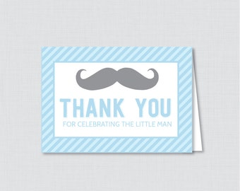 Printable Mustache Thank You Card - Printable Instant Download - Mustache Baby Shower Thank You Cards, Little Man Baby Shower - 0002-B
