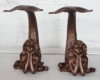 Mermaid Bookends / Mermaid Book End / Mermaid Statue / Mermaid Decor / Mermaid Figure / Nautical Decor / Mermaid Sculpture