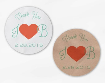 Initials and Heart Wedding Favor Stickers - Coral and Mint Custom Candy Buffet White, Kraft Round Labels for Bag Seals, Envelopes (2033)