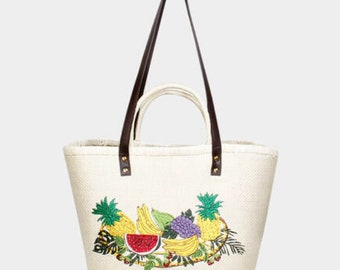 EMBROIDERY Fruit  Straw Double  Hands  Basket Tote bag