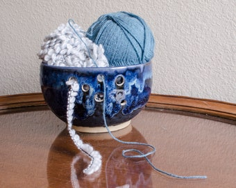 Blue Bubble Ceramic Yarn Bowl