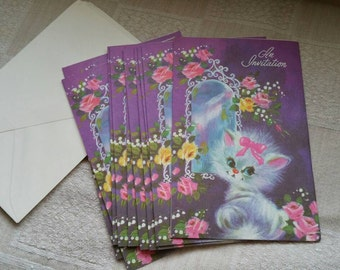8 pack of Vintage Generic Party Invitations with Envelopes and a Cat