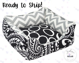 X-Small Paisley Black White Designer Dog Bed or Cat Bed - X-Small | Dramatic, Circles, Paisley | Ready to Ship!