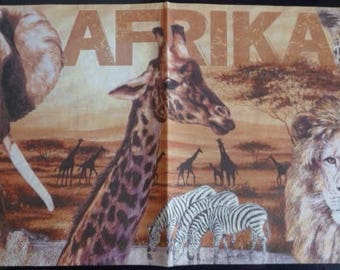 Towel paper afrika 3 Giraffe and lion