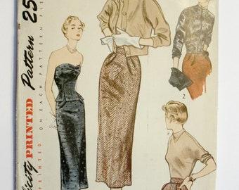 Super Mod 50s  It Girl Beret Cardigan Evening Simplicity Wardrobe Sewing Pattern 3027 Size 14 Bust 32
