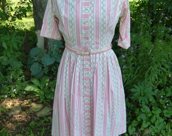 Vintage 1950's 60's Pink Floral Striped Shirtdress Button-up Swing Skirt