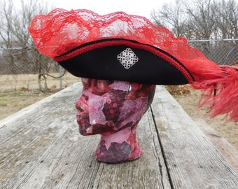 Red and Black Tricorn Pirate Hat