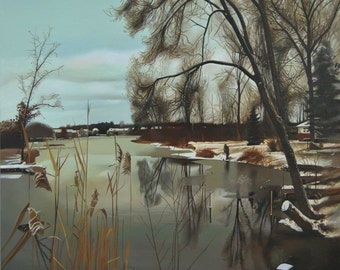Landscape Painting, Canvas Painting, Original Oil, Hyperrealism painting, Nature Painting, Trees, Water painting, Lake, River Painting