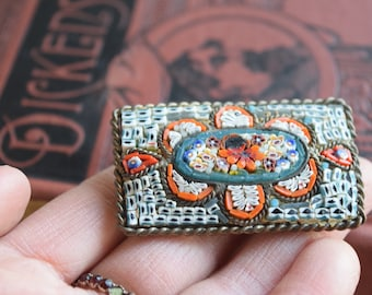 Antique HUGE Micromosaic Brooch, Italy Glass Tile Mosaic Pin, Jewelry gift for her