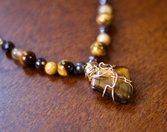 Custom Necklace for @elshaddai68 - Tiger Eye Necklace - Positive Energy Necklace