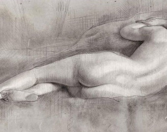 Sleeping Beauty, reclining nude hand finished print
