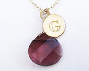 Personalized womens necklaces with letter G necklace and red stone, gold initial coin valentine necklace gift, G letter personalized jewelry
