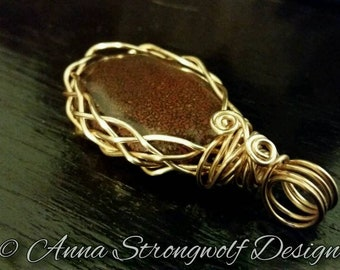 Chocolate brown Jasper pendant with gold wire wrap