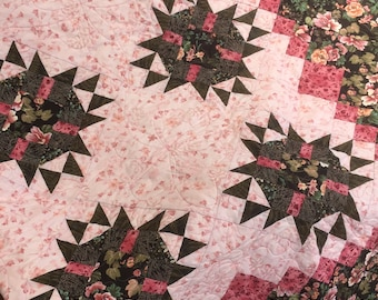Peony Stars Queen/King size quilt