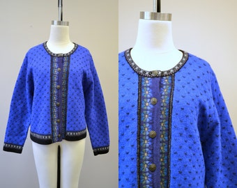 1980s Tally Ho Wool Cardigan Sweater