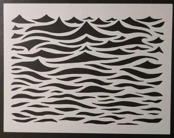 Ocean Waves Wavey Wavy Wave Water Pattern Custom Stencil FAST FREE SHIPPING