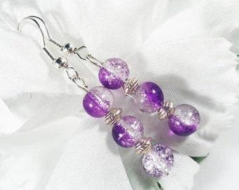 Purple Earrings, Amethyst Earrings, Purple Glass Earrings, Elegant Earrings, Womens Jewelry, February Birthstone Earrings, Purple Jewelry