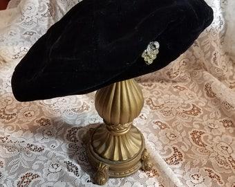 Womens Vintage Rosamonde Velvet Beret Hat with Berry Rhinestone Brooch
