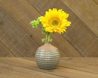 Carved Vase - Vase - Ceramic Vase - Pottery Vase - Wheel Thrown - Reduction Fired - Celadon Glaze - Go Play Clay - Guiliotis - Made to Order