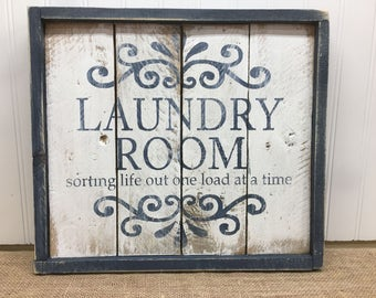 Rustic Pallet Wall Art - Laundry Room Sign - Wood Wall Sign - Gifts for Her - Housewarming Gift - Pallet Sign - Framed Wood Sign - 14x12