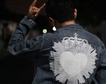 No More Fifth: Crowned Heart; Hand Painted Jacket