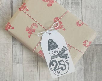 Snowman Gift Tags - Christmas gift tag - Winter gift tags - do not open until Christmas - Holiday Gift Tags - Snowman favour tag
