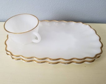 Milk glass gold trimmed snack plates