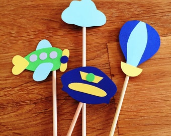 Airplane Theme Cupcake Toppers - Planes, Hot Air Balloon, Pilot, Flying, Boy, Baby Shower Decor, Children's Birthday Party, Cake Topper