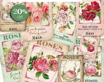 FINE ROSES Printable Images -printable download / Printable Roses/ Roses Seed Packet / Roses / Printable Vintage Roses / Seed Packets/ Roses