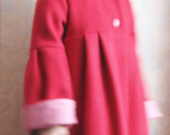 The little Red Riding Hood cloak / coat for girl in red wool / hooded winter coat / kids Red Hooded Coat