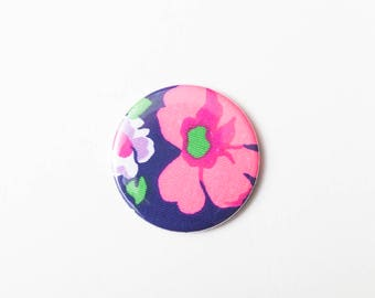 Pink Flower - A Pocket Mirror made from Vintage Fabric, 58mm 2.3 Inches, Vintage Floral Mirror