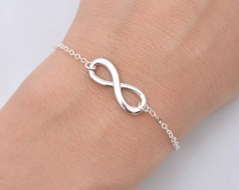 Set of 4 Infinity Bracelets, 4 Bridesmaid Bracelets, Silver Infinity, Bridesmaid Gifts - Sterling Silver Chain 0196