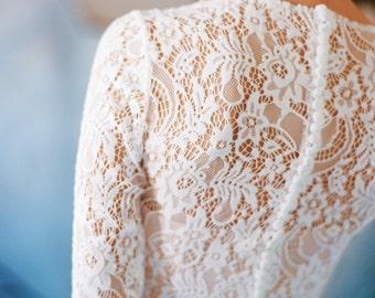 "Long sleeve lace wedding dress ""Orion"", boho wedding dress, corset bridal gown, simple modest wedding dress, winter wedding gown, milamira"