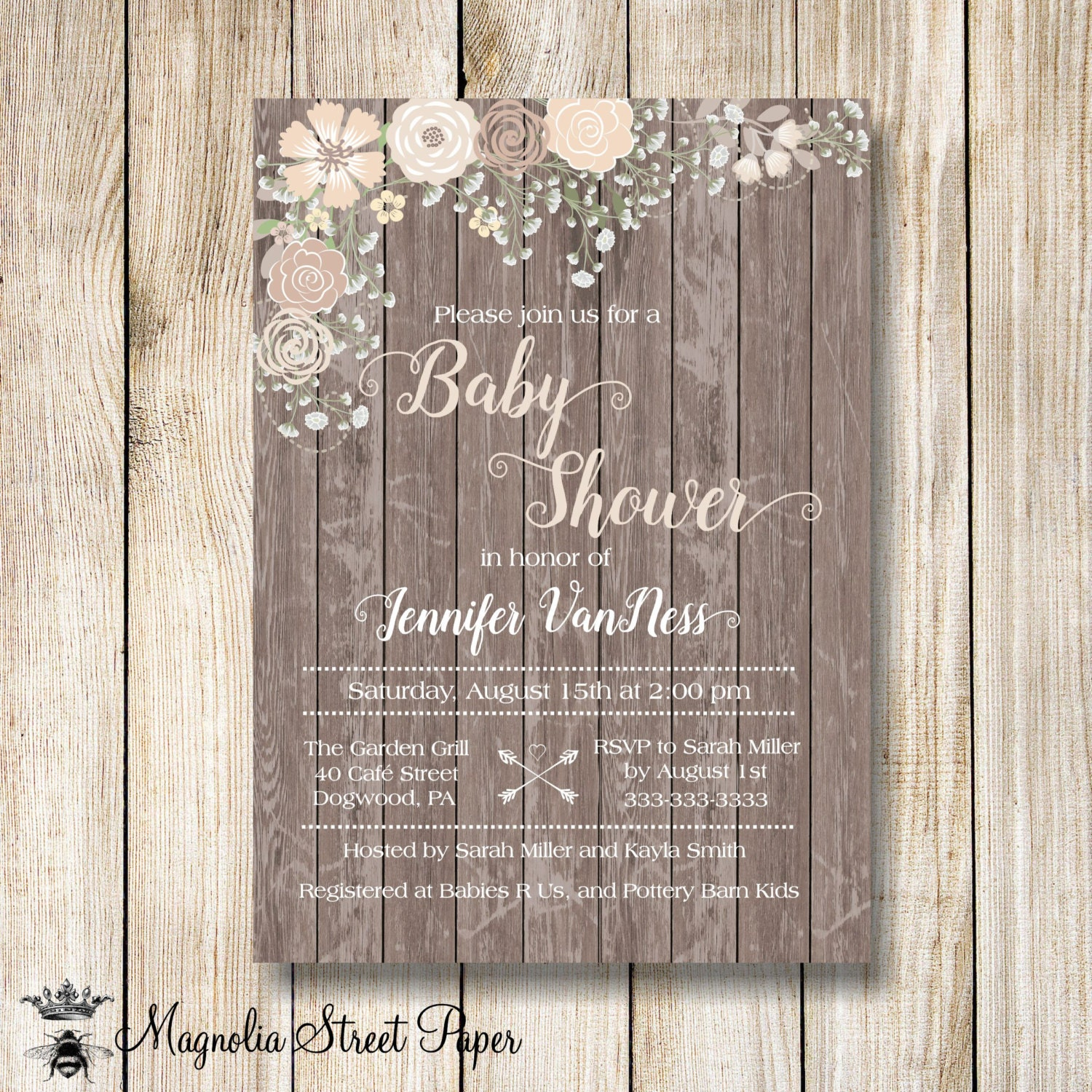 rustic pink baby shower invitation babys breath and pink