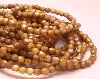 Czech Glass Tan Beige Fire Polished Beads 100 pcs. 3mm/114